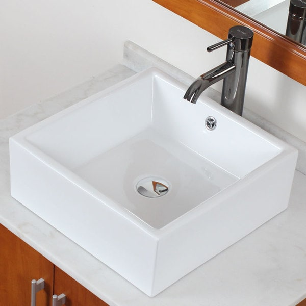 Elite Grade A Ceramic White Square Bathroom Vessel Sink
