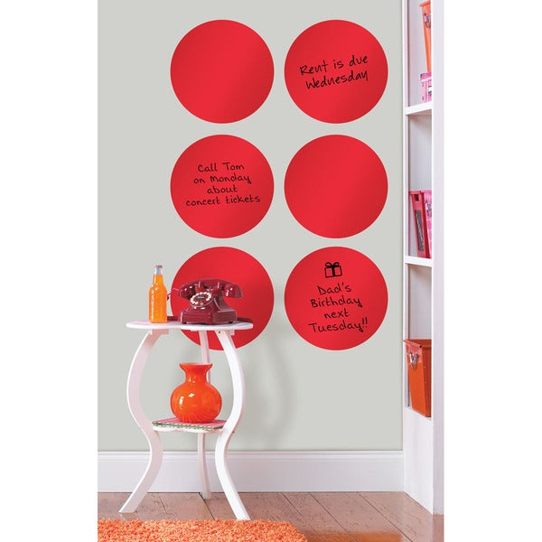 Wall Pops Red Hot Red Dry-erase Dot Decals Set