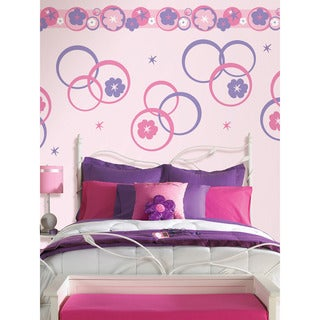 Wall Pops Hooplah Pink and Purple Concentric Dots and Strip Wall Decals