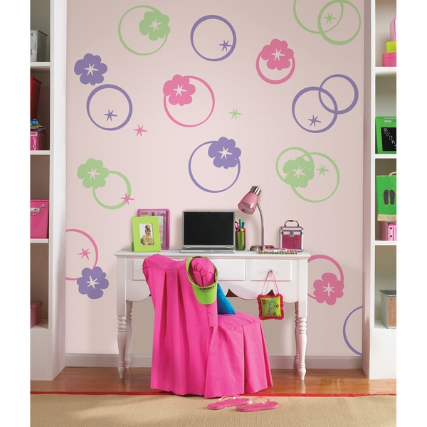 Wall Pops Hooplah Pink, Purple and Green Dot Wall Decals
