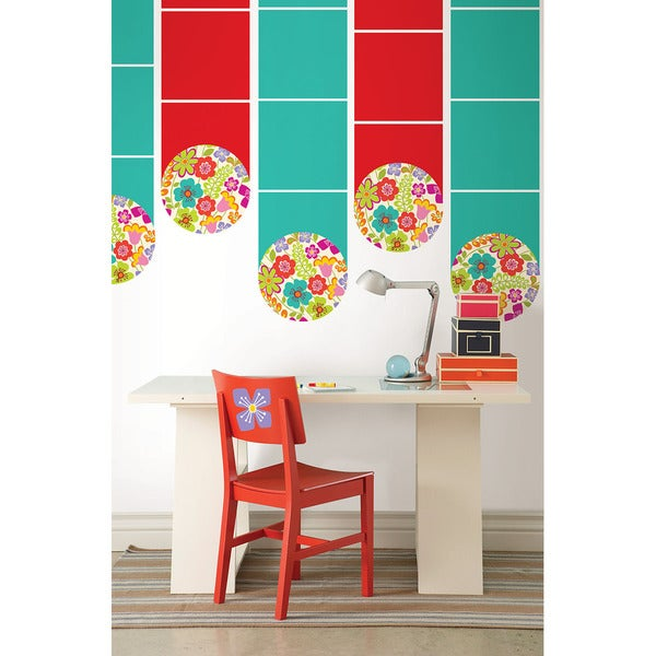 Wall Pops Oh Pear and Blue Stripes with Blue Hearts Wall Decals