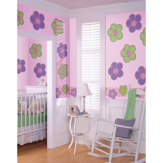 WallPops Purple and Green Poppies and Stripe