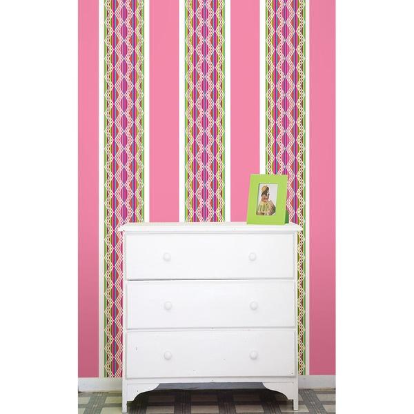 WallPops Petals and Flirt Pink Stripes