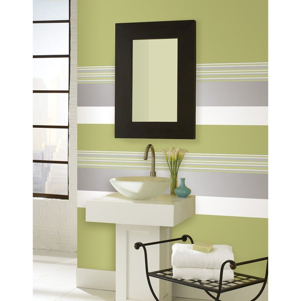 WallPops Flora, Ice Silver and Ghost White Stripe Decal Pack