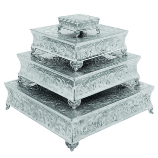 Casa Cortes Event Essentials Square 4-piece Wedding Cake Stand Set