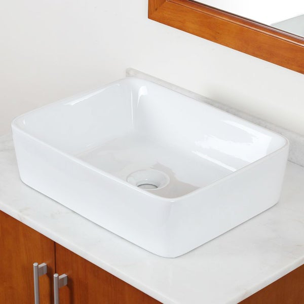 Elite Grade A Ceramic White Rectangular Bathroom Vessel Sink