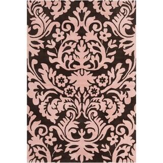 Filament Brown/ Pink Floral Wool Rug (5' x 7'6)