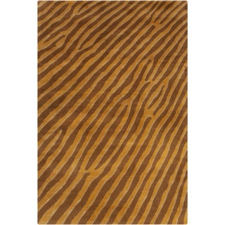 "Filament Brown Abstract Wool Area Rug (5' x 7'6"")"