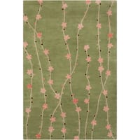 Filament Green Floral Wool Rug - 5' x 7'6