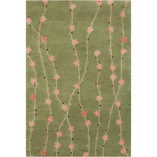 Filament Green Floral Wool Rug (5' x 7'6)