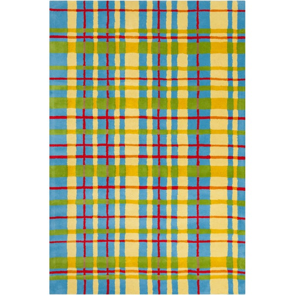 Allie Handmade Geometric Wool Rug with Nonskid Backing (5' x 7'6)