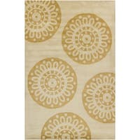 Filament Tan Abstract Wool Rug - 5' x 7'6