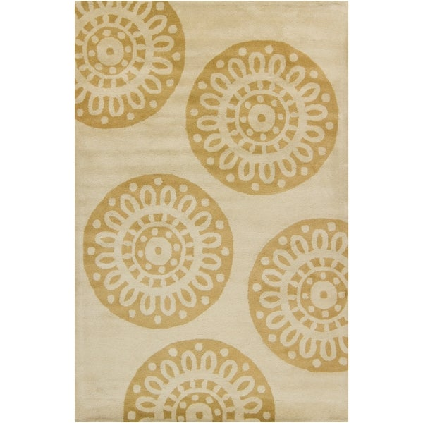 Filament Tan Abstract Wool Rug (5' x 7'6) - 5' x 7'6