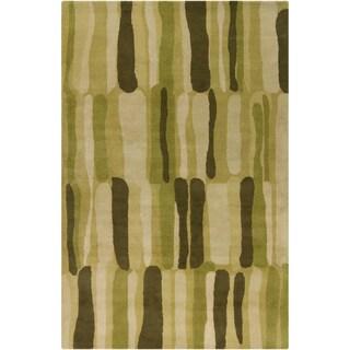 Filament Green Abstract Wool Rug (5' x 7'6)