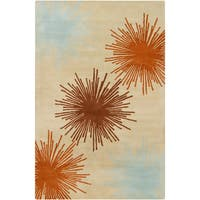 Filament Taupe Abstract Wool Rug - 5' x 7'6