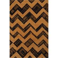 Filament Geometric Brown Contemporary Wool Rug - 5' x 7'6
