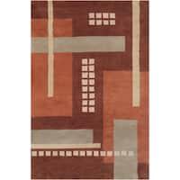 Filament Geometric Brown Wool Rug - 5' x 7'6