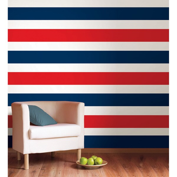 WallPops Shh! Blue and Red Hot Stripes Bundle Vinyl Wall Art