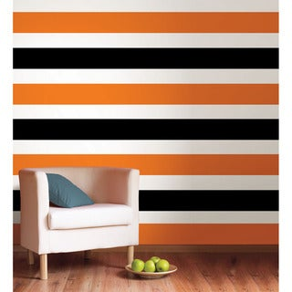 WallPops Totally Orange and Black Jack Removable Stripes Vinyl Wall Art (Set of 4)
