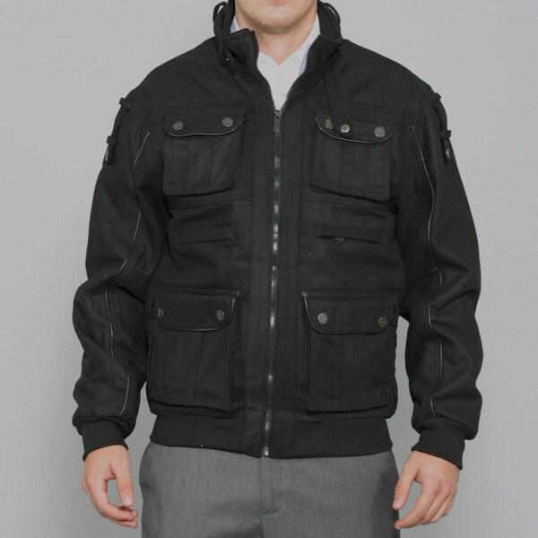 Sportier Men's Black Multi-pocket Wool Coat