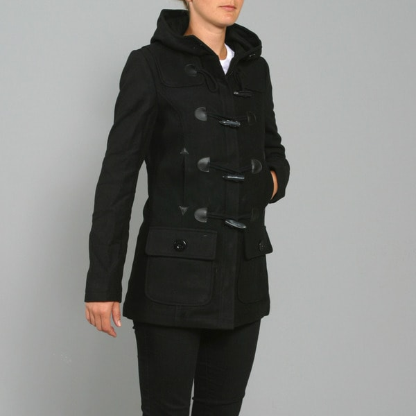 Red Fox Women's Black Wool Toggle-front Coat