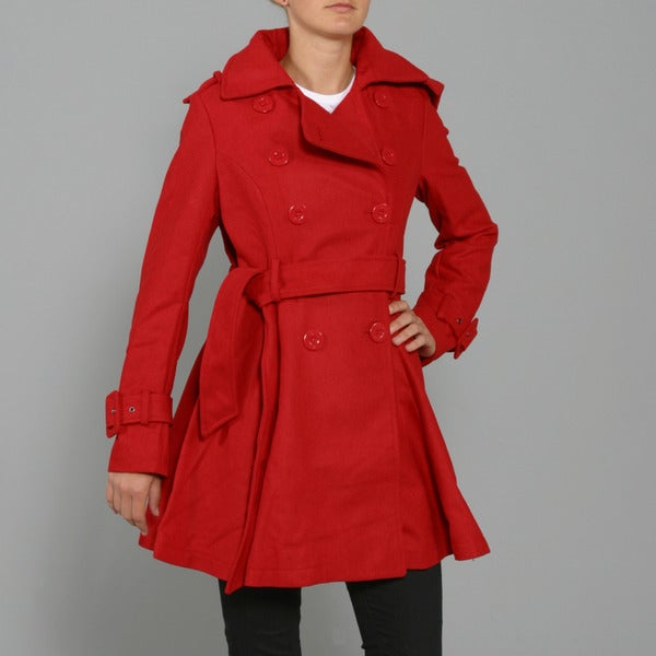 Red Fox Women's Red Wool-blend Double-breasted Coat