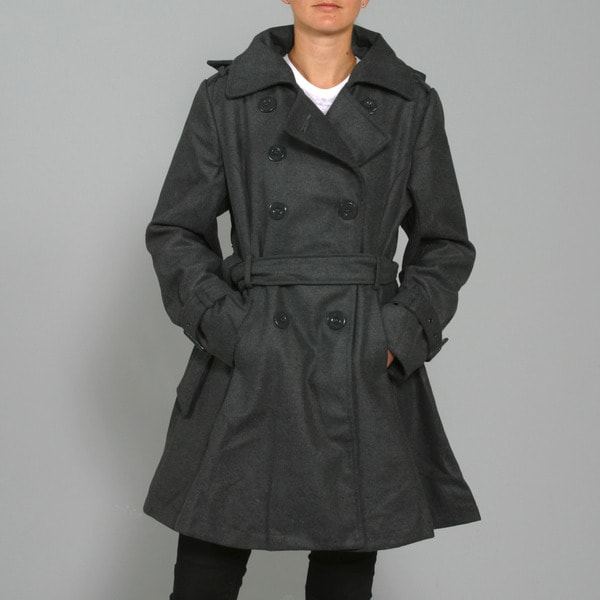 Red Fox Women's Charcoal Wool-blend Double-breasted Coat