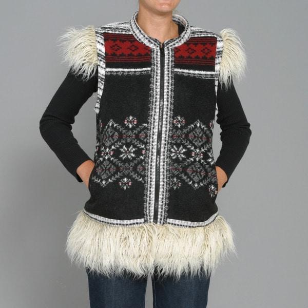 Black Mountain Women's Faux Fur Fair Isle Patch Vest