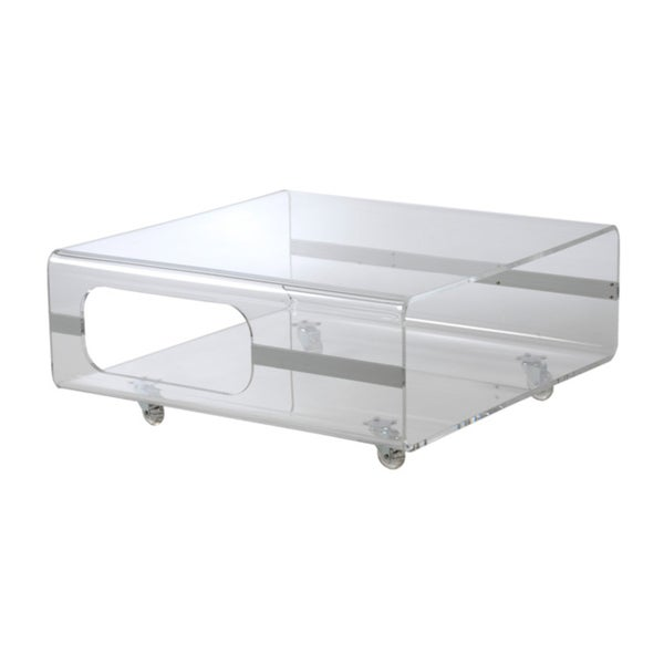 Euro Style 39 Matthew 39 Clear Acrylic Coffee Table Free Shipping Today 14926636