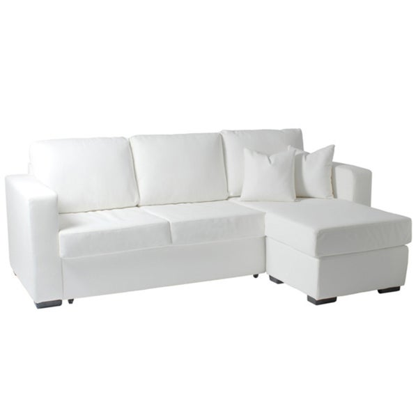 Euro Style 'Gustav' White Leatherette Pull-out Sectional Sofa