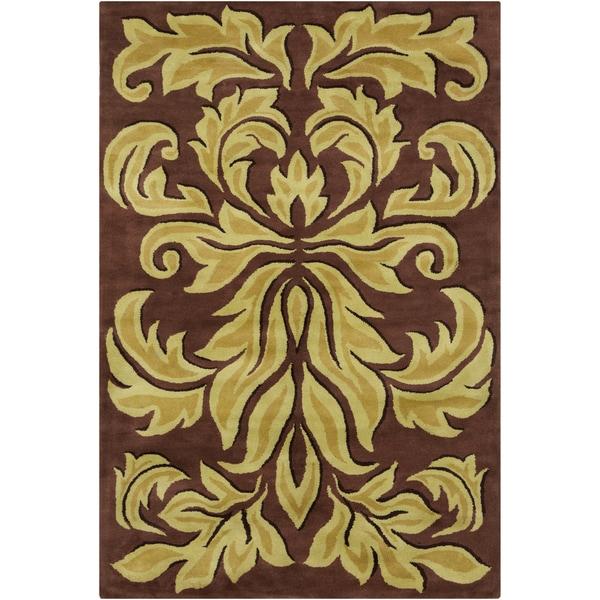 Allie Handmade Floral Brown Wool Rug - 5' x 7'6