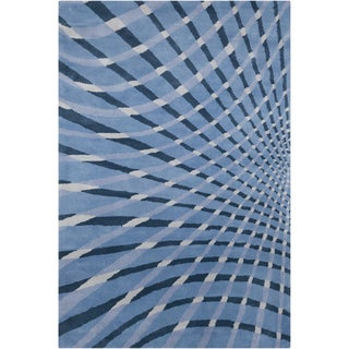 Allie Handmade Abstract Blue Wool Area Rug (5' x 7'6)