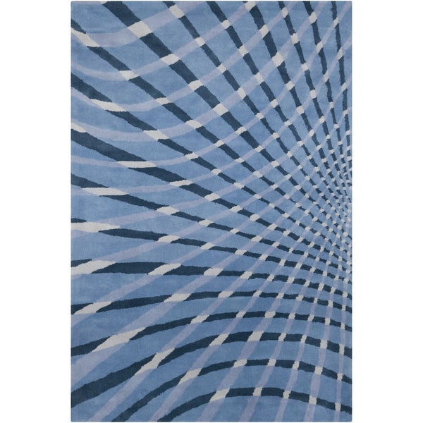 Allie Handmade Abstract Blue Wool Area Rug - 5' x 7'6""