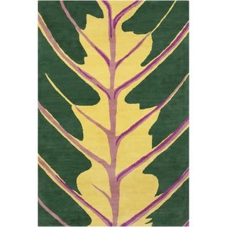 Allie Handmade Green Wool Rug (5' x 7'6)