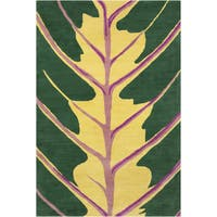 Allie Handmade Green Wool Rug - 5' x 7'6