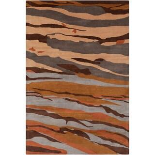 Shop Handmade Allie Abstract Brown Wool Rug 5 X 7 6