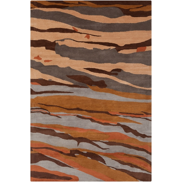 Allie Handmade Brown/Gray Abstract Wool Rug - 5' x 7'6