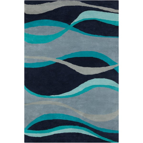 Allie Handmade Abstract Blue Wool Rug (5' x 7'6)
