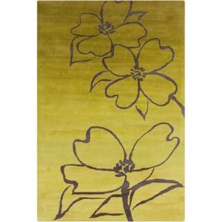 Handmade Allie Floral Green/ Grey Wool Rug (5' x 7'6)