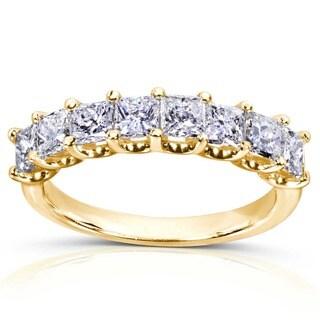 Annello by Kobelli 14k Gold 1 1/2ct TDW Princess Diamond Wedding Band (H-I, I1-I2)