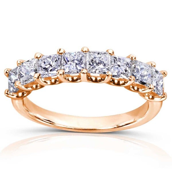 Annello by Kobelli 14k Gold 1 1/2ct TDW Princess Diamond Wedding Band (H-I, I1-I2)