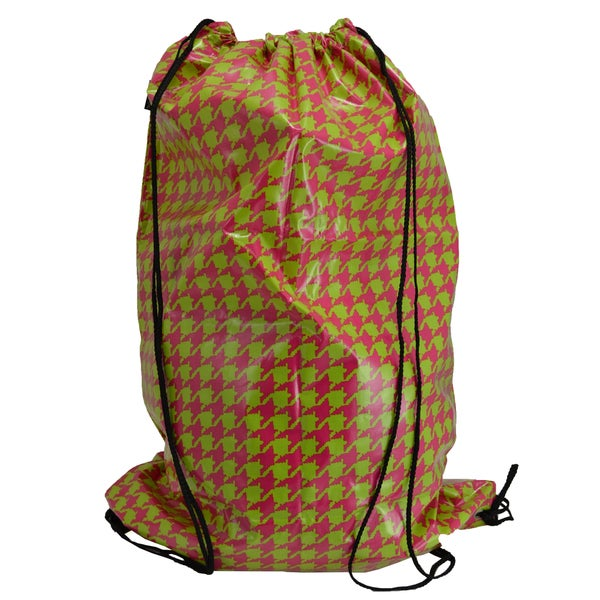Pink/ Lime Houndstooth Laundry Duffle