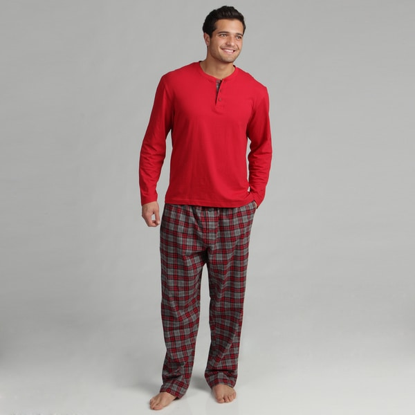 Majestic Men's Knit Henley and Flannel 2-piece Pajama Set