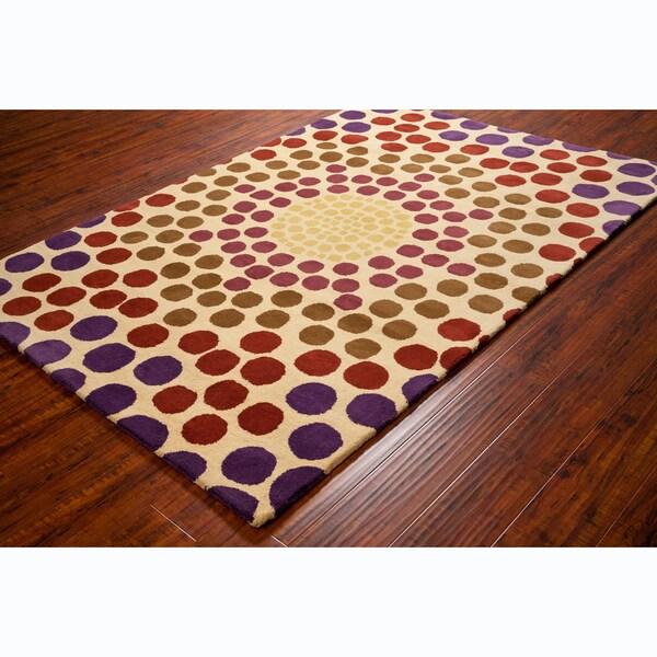 Allie Handmade Geometric Cream Wool Area Rug - 5' x 7'6