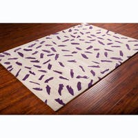 Allie Contemporary Handmade Abstract Beige Wool Rug - 5' x 7'6