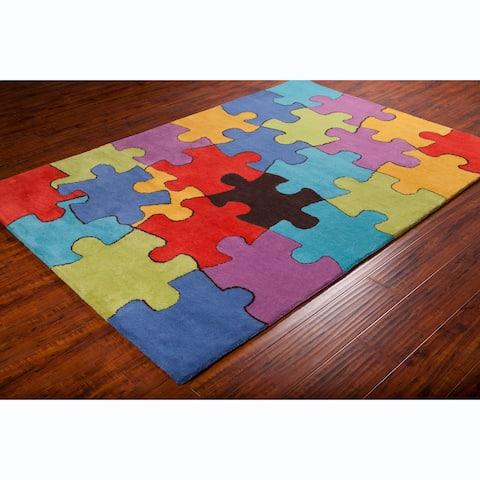 Allie Handmade Colorful Jigsaw Puzzle Wool Rug - multi