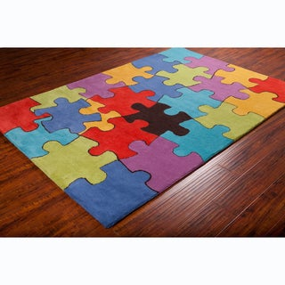 Allie Handmade Colorful Jigsaw Puzzle Wool Rug (5' x 7'6)