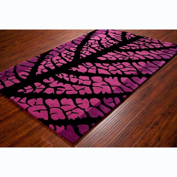 Allie Handmade Floral Pink Wool Rug - 5' x 7'6
