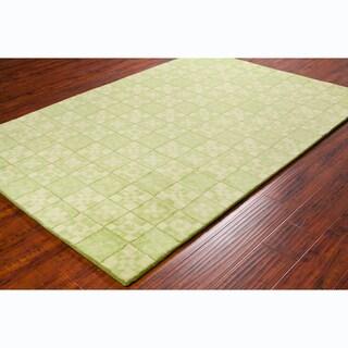"Allie Contemporary Handmade Geometric Green Wool Rug (5' x 7'6"")"