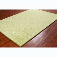 Allie Contemporary Handmade Geometric Green Wool Rug - 5' x 7'6